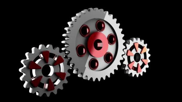 Gear wheels rotate. alpha matted