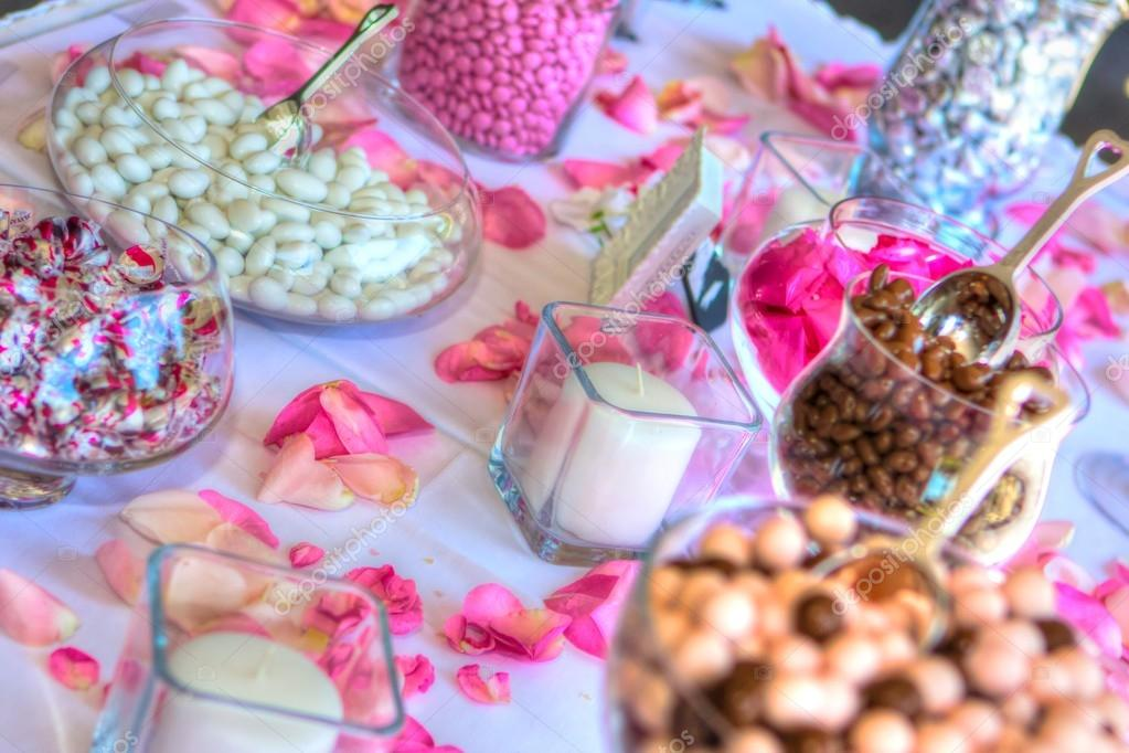 Wedding Reception Candy Table In High Dynamic Range Stock Photo