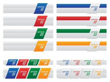 Set of Colourful Option Labels and Tabs Template