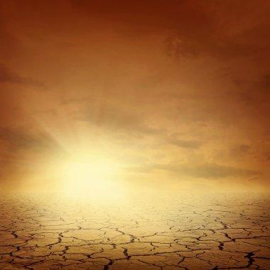 Desert landscape background global warming concept stock vector