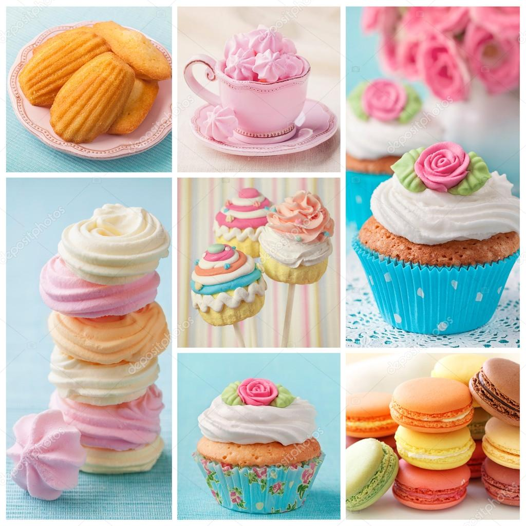 Pastel colored cakes collage Stock Photo egal 17456005
