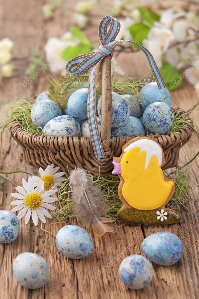 Ostern Cookie Und Blaue Eier Stockfoto Egal 22534415