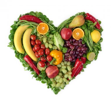 Heart of fruits and vegetables stock vector
