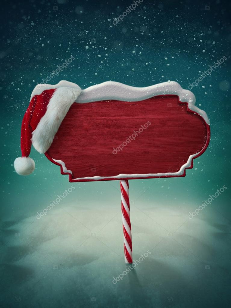 Wooden sign and santa hat