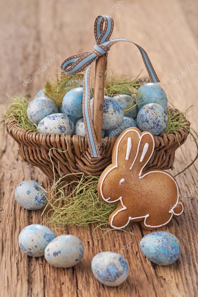 Ostern Cookie Und Blaue Eier Stockfoto Egal 39621523