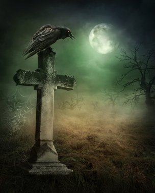 Crow on a grave at night stock vector