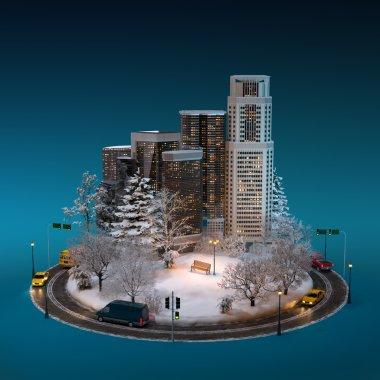 Night winter cityscape