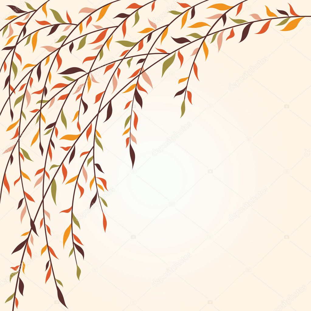 Stylized tree branches with leaves