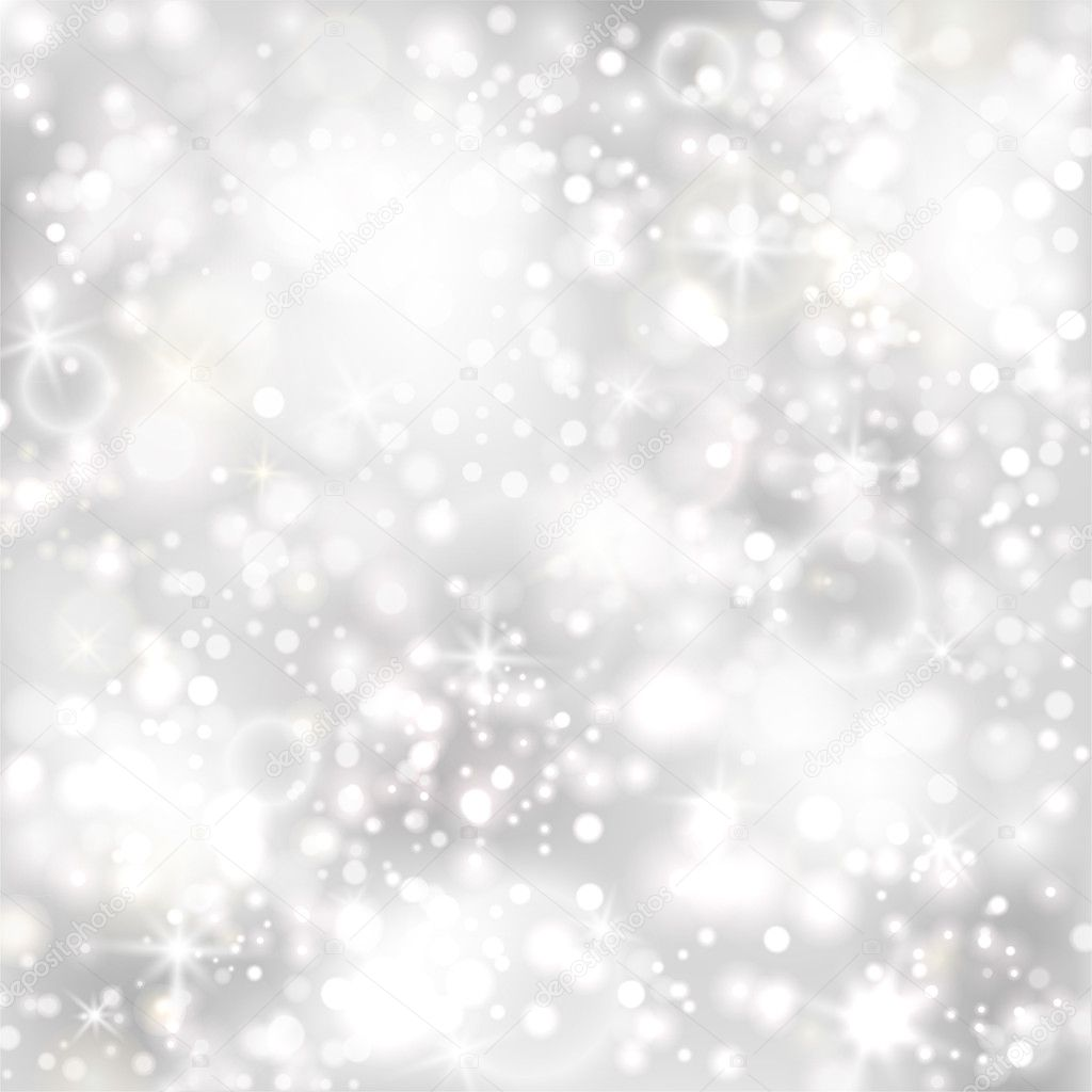 Silver background with stars and twinkly lights