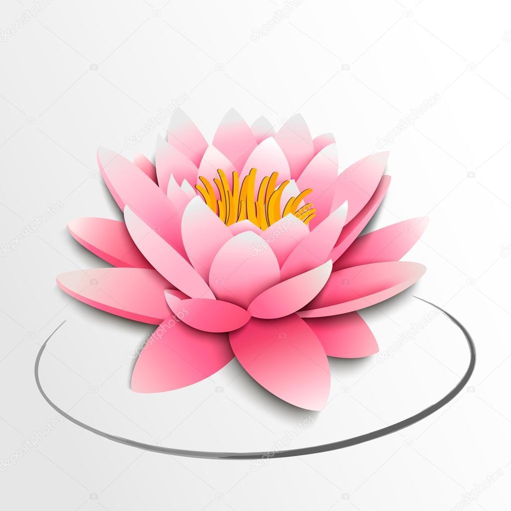 Pink Lotus Flower Paper Cutout Stock Vector Megapixelina 23354484