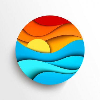 Sunset in the sea. Stylized vector icon illustration stock vector