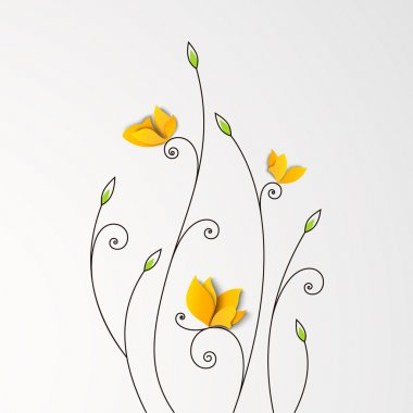 Floral background with paper butterflies. Vector design stock vector