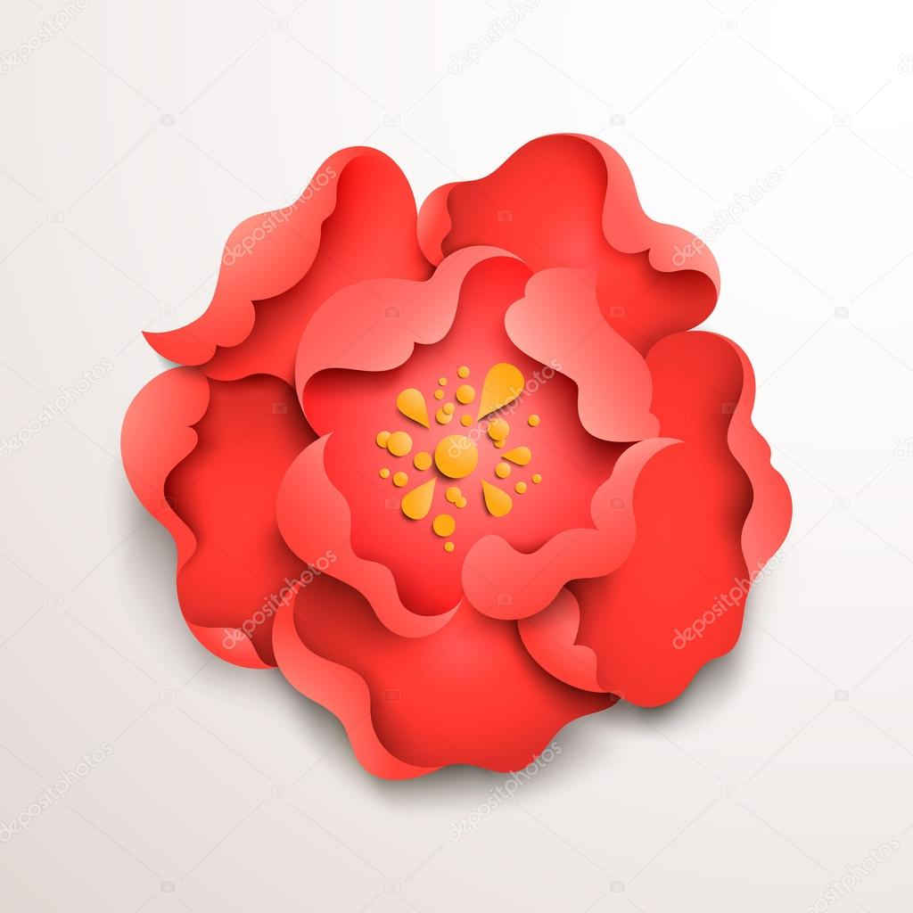 Abstract floral background. Red paper flower