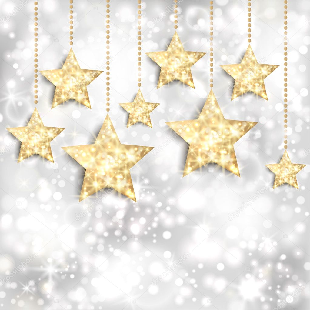 Silver background with gold stars and twinkly lights