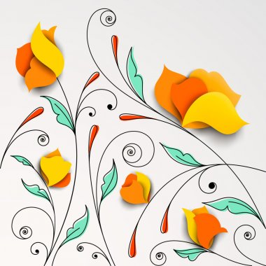 Floral background with paper flowers
