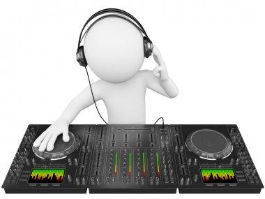 3D white . DJ with a mixer