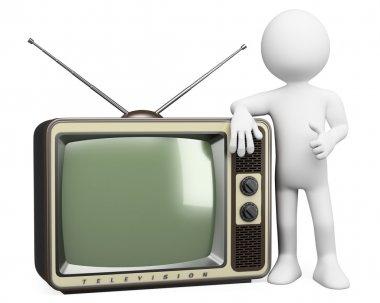 3D white . Vintage TV