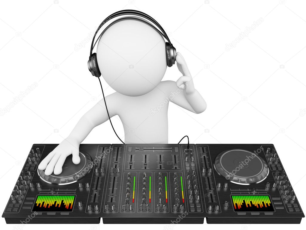 3D white . DJ with a mixer