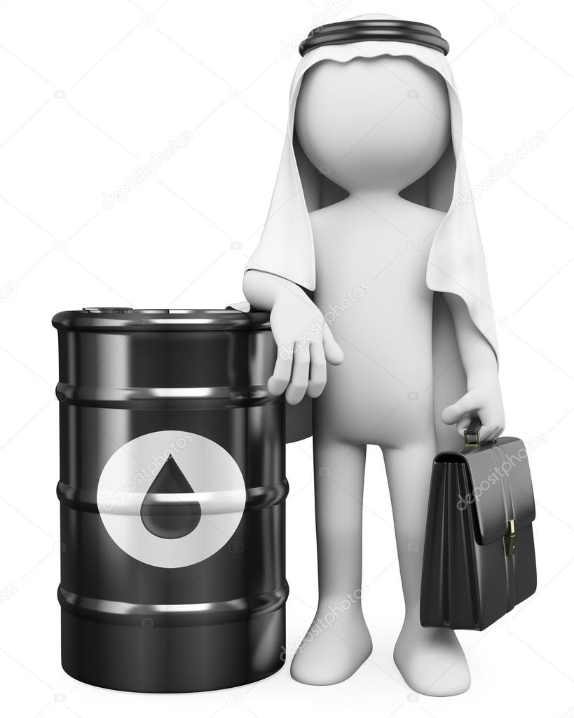 3D white . Arab man with a barrel of oil