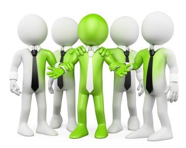 3D white . Green teamwork