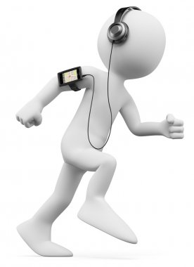 3D white . Man jogging