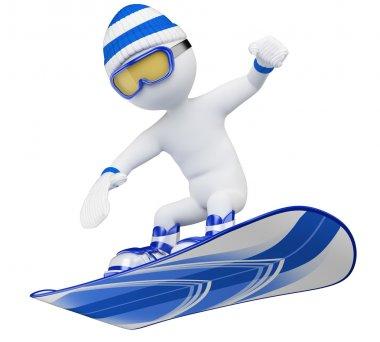 3D white . Snowboard