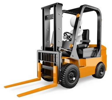 3D white . Forklift