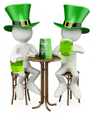 3D white . Friends in the St. Patrick's Day