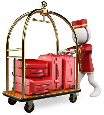 3D white . Hotel luggage cart
