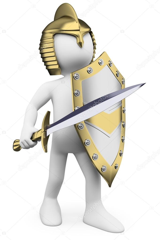 3D white . Knight with sword helmet and shield