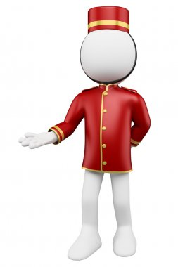 3D white . Bellboy welcoming