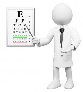 3D white . Optometrist, optician