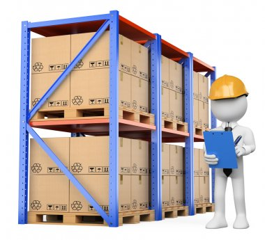 3D white . Warehouse Manager