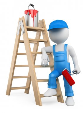 3D white . Painter with ladder