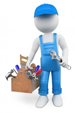 3D white . Handyman with a toolbox
