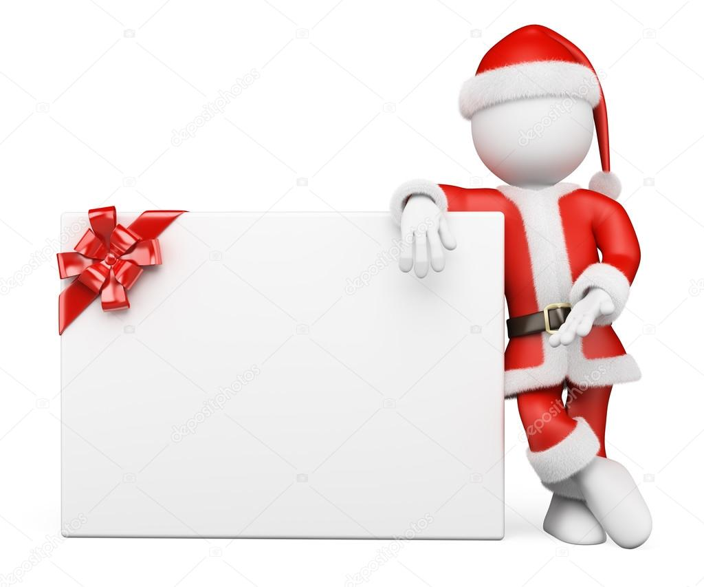 3D white people. Santa Claus with blank banner