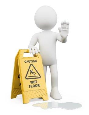 3D white people. Caution wet floor