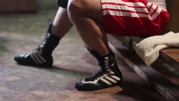 Fighter in the locker room