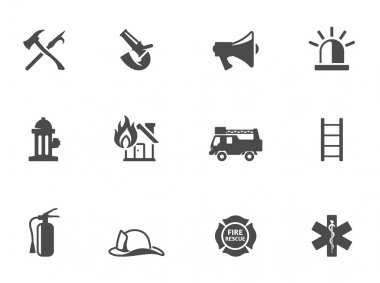 Fire fighter icons in black & white