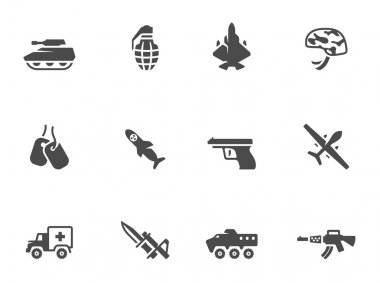 Military icons in black & white.