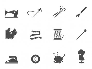 Sewing icons in black & white