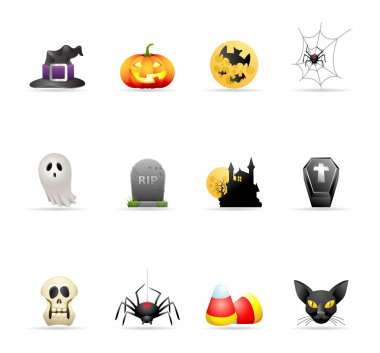 Halloween icon series in colors.