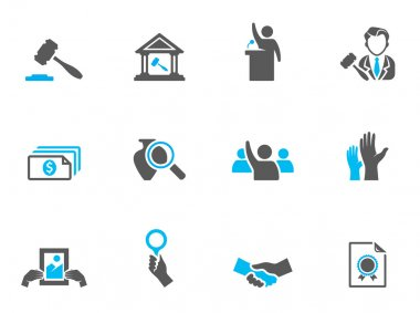 Auction icons in duo tone colors.