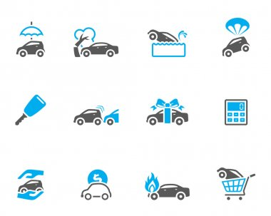 Car insurance icons in duo tone colors.