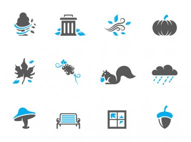 Autumn icons in duo tone colors.