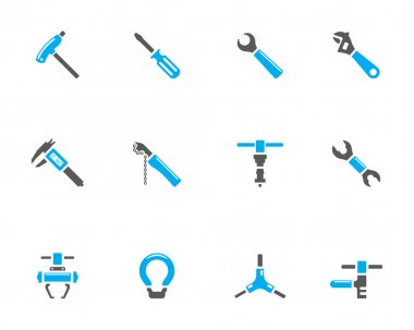 Bicycle tools icon series in duotone color style.