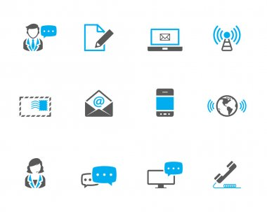 Communication icon series in duotone color.