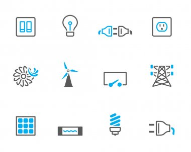 Electricity icons in duo tone colors.