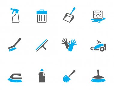 Cleaning tool icon series in duo tone colors.