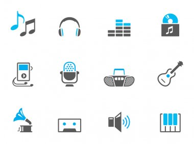 Music icons in duo tone colors.
